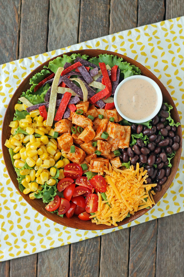 Barbecue Ranch Chicken Salad overhead view