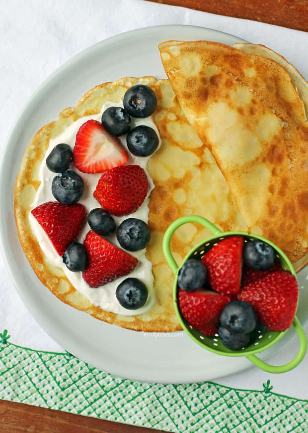 Crepes with Yogurt and Berries overhead view