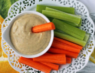 Lemon Garlic Hummus with carrots and celery overhead