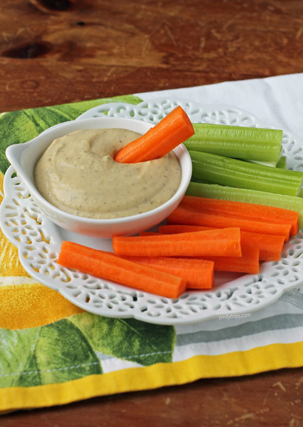 Lemon Garlic Hummus with carrots and celery