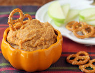 Pumpkin Spice Hummus with pretzels and apples