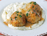 Swedish Turkey Meatballs with mashed potatoes