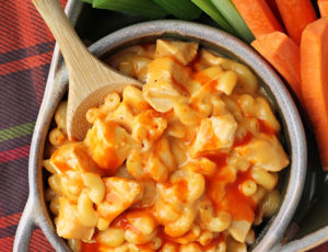 One-Pot Buffalo Chicken Mac and Cheese overhead view