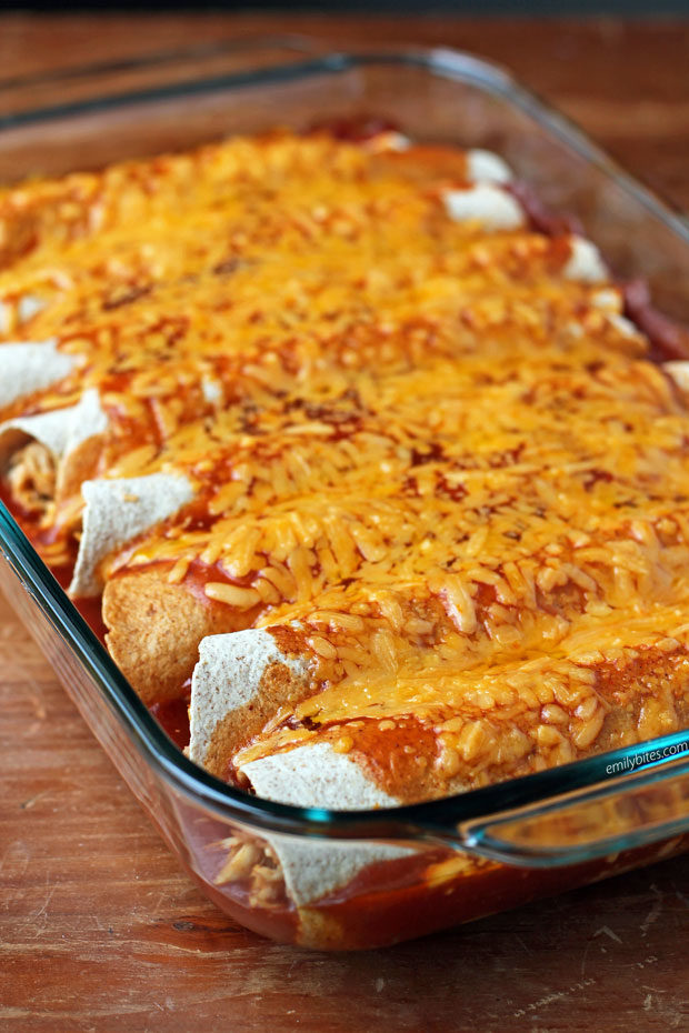 Chicken and Bean Enchiladas in a dish