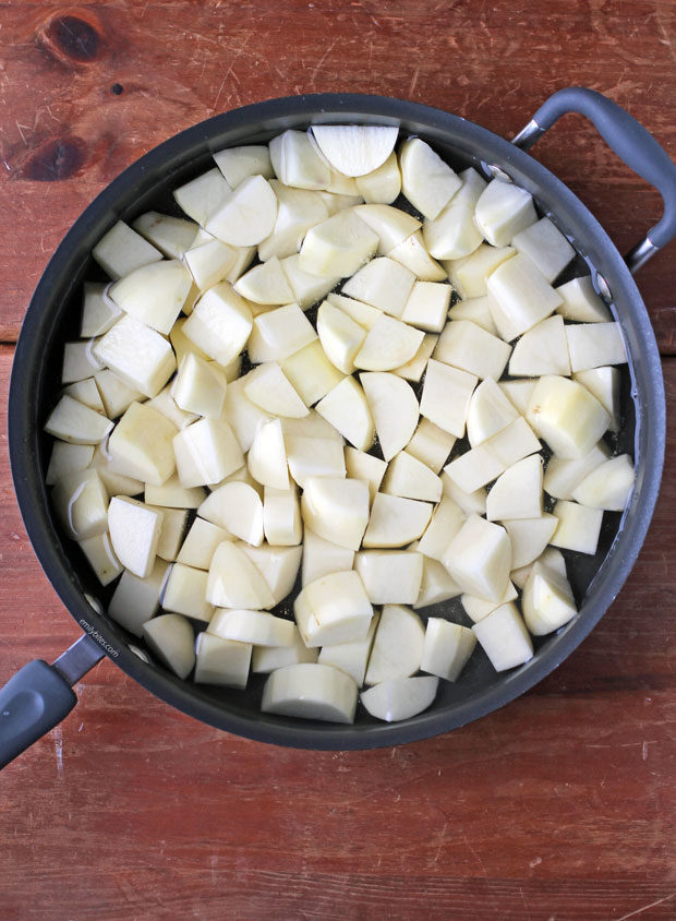 Classic Mashed Potatoes step one in a pan