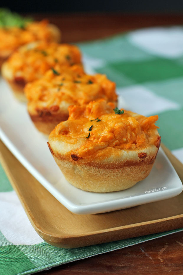 Mini Buffalo Chicken Dip Bread Bowls on a plate