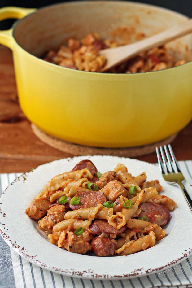 One-Pot Cajun Chicken and Sausage Pasta on a plate