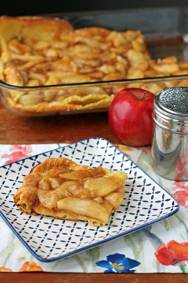 Puff Pancake Bake with Warm Apple Topping slice
