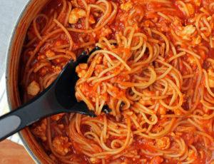 One-Pot Turkey and Veggie Spaghetti in a pot