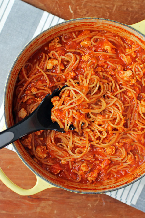 One-Pot Turkey and Veggie Spaghetti in a pot