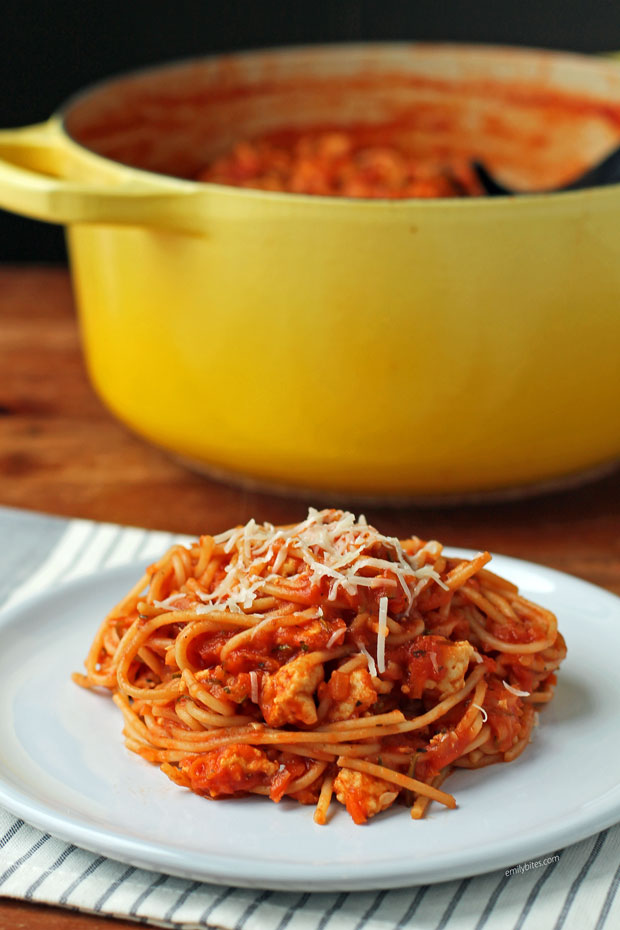 One-Pot Turkey and Veggie Spaghetti on a plate