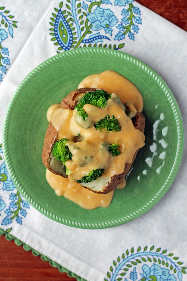 Broccoli Cheddar Stuffed Baked Potatoes overhead view