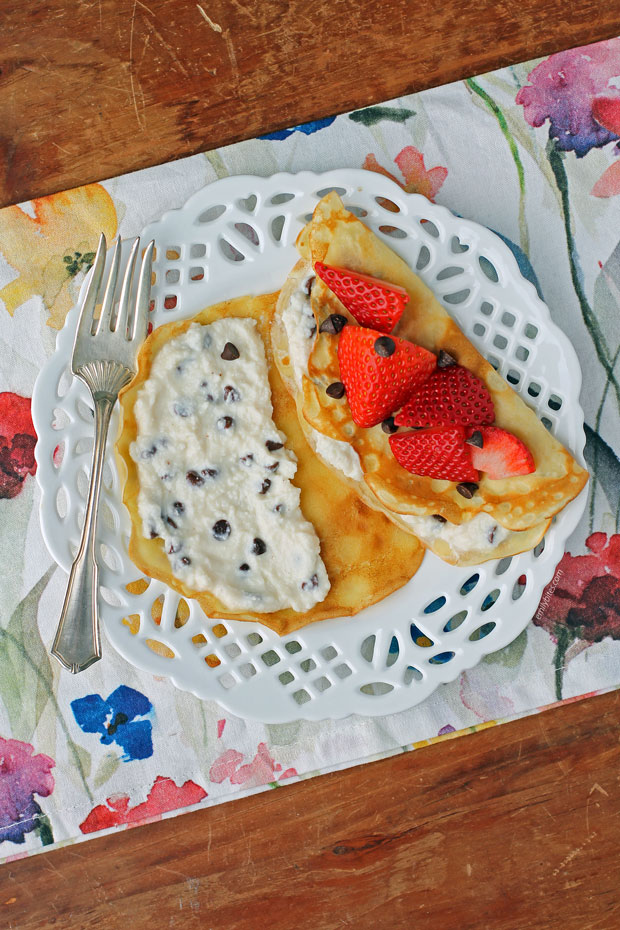 Cannoli Crepes with Strawberries