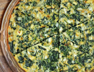 Crustless Spinach and Feta Quiche in the pan