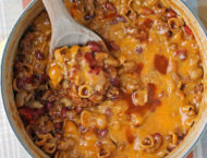 One-Pot Cheesy Chili Mac in the pot