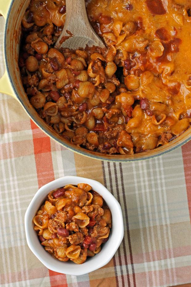 One-Pot Cheesy Chili Mac served