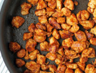 Blackened Chicken Bites in a pan