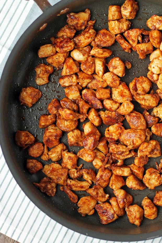 Blackened Chicken Bites in a pan