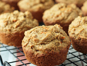 Carrot Muffins on a cooling rack