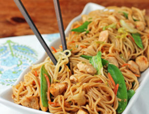 Chicken Lo Mein with chopsticks