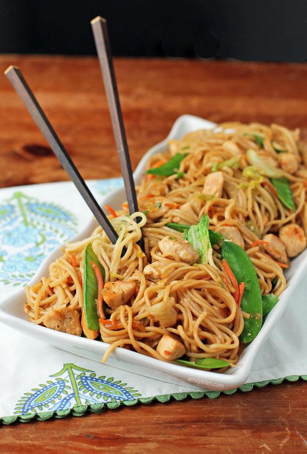 Chicken Lo Mein with chopsticks