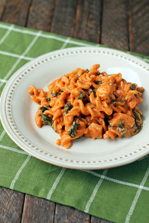 One-Pot Creamy Tomato Pasta with Chicken and Spinach on a plate