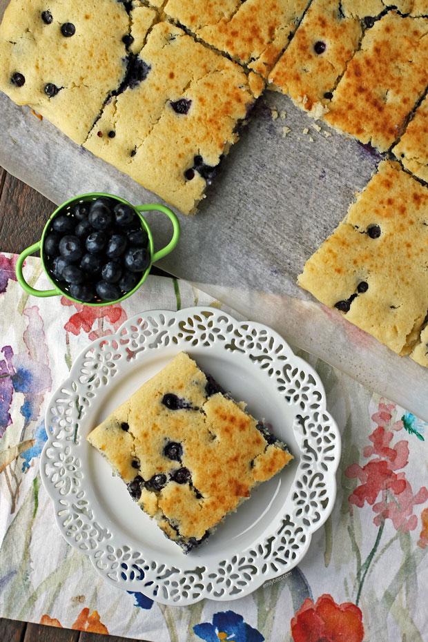 Sheet Pan Blueberry Pancakes overhead