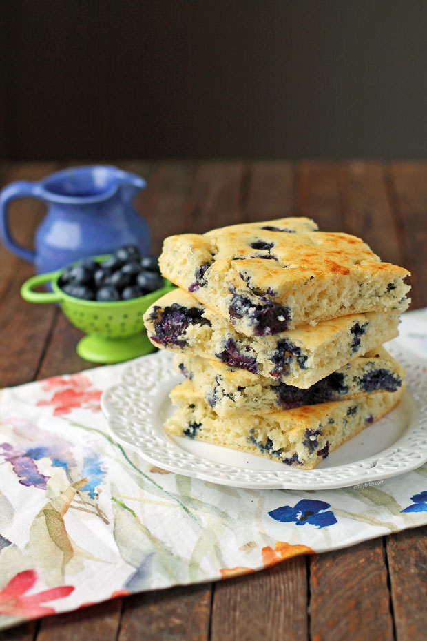 Sheet Pan Blueberry Pancakes in a stack