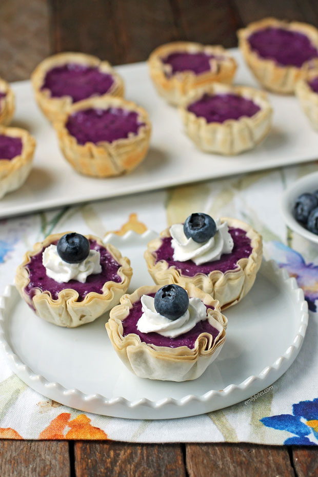 Blueberry Cheesecake Mini Tarts on a plate