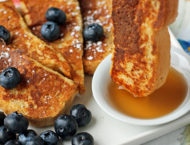 French Toast Sticks dipped in syrup