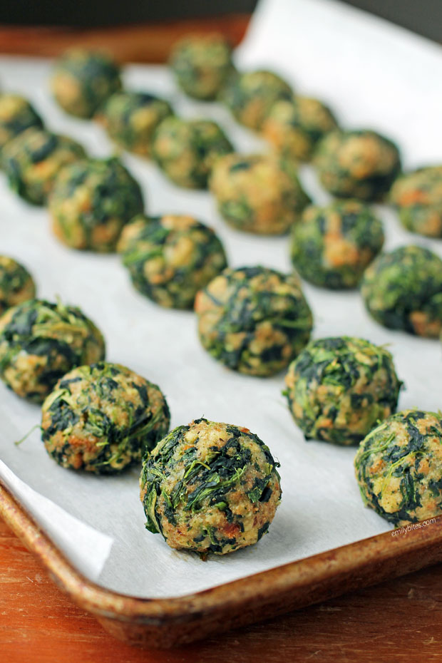 Spinach Balls lined up on a cookie sheet
