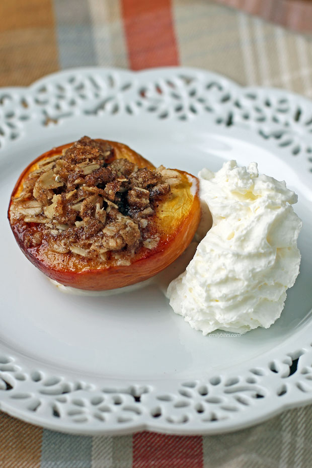 Baked Peached with Crisp Topping with whipped cream