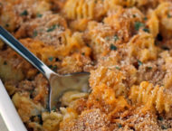 Baked Cauliflower Mac and Cheese in a baking dish