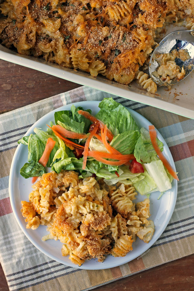 Baked Cauliflower Mac and Cheese plated with salad