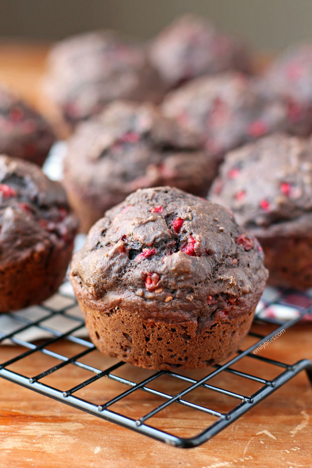Chocolate Raspberry Muffins close up