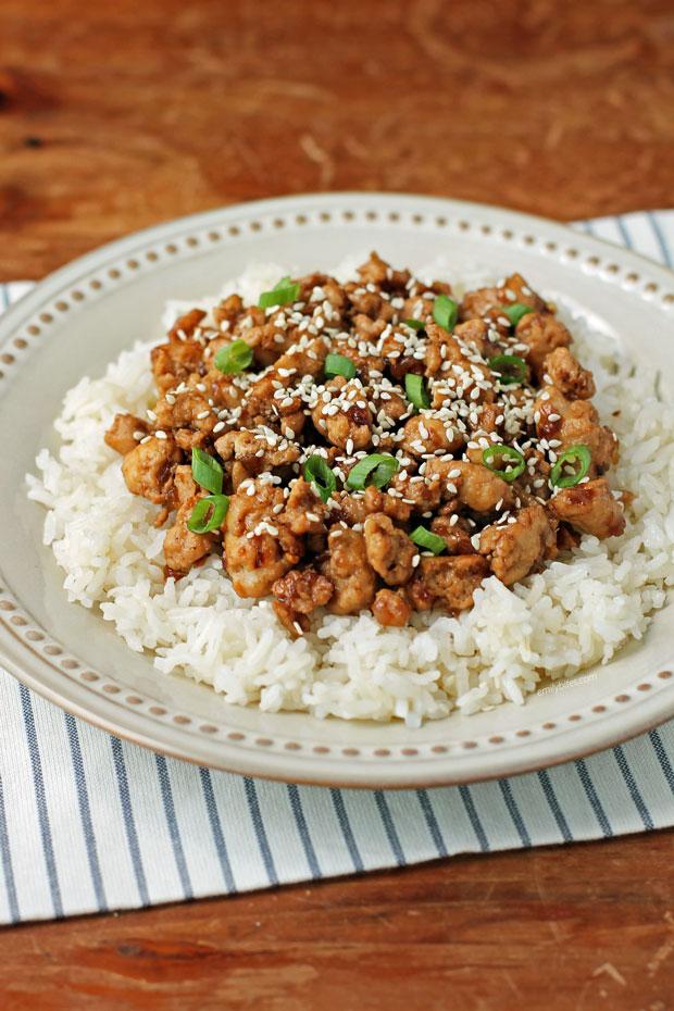 Korean-Inspired Ground Turkey with rice