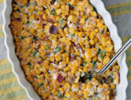 Creamy Corn with Bacon and Jalapenos being scooped