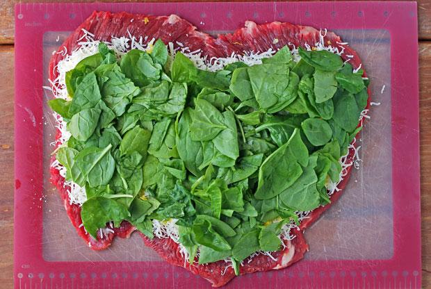 Flank Steak topped with Parmesan, garlic, lemon and spinach