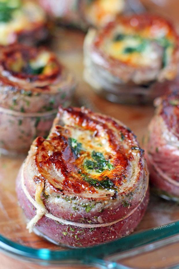 Garlic Parmesan Flank Steak Pinwheels seared and ready to bake