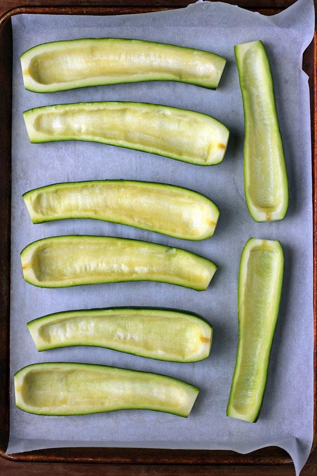 Empty zucchini boats