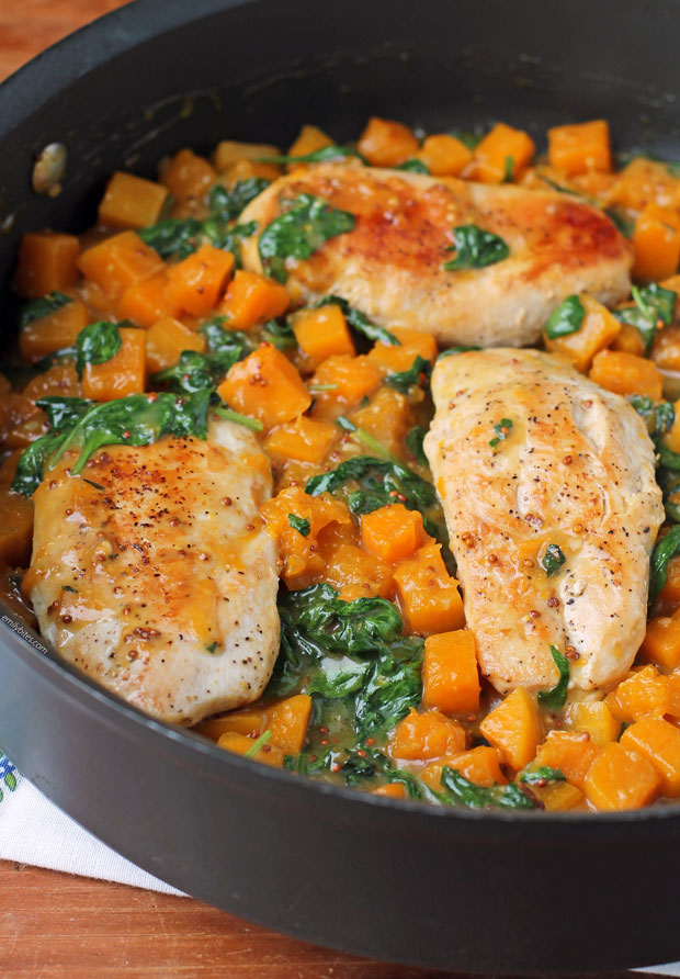 close-up of Maple Dijon Chicken and Squash Skillet