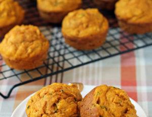 Pumpkin Zucchini Muffins close up