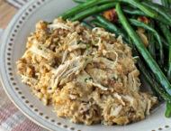 Slow Cooker Chicken and Stuffing on a plate