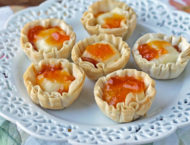 Apricot Brie Tartlets on a plate