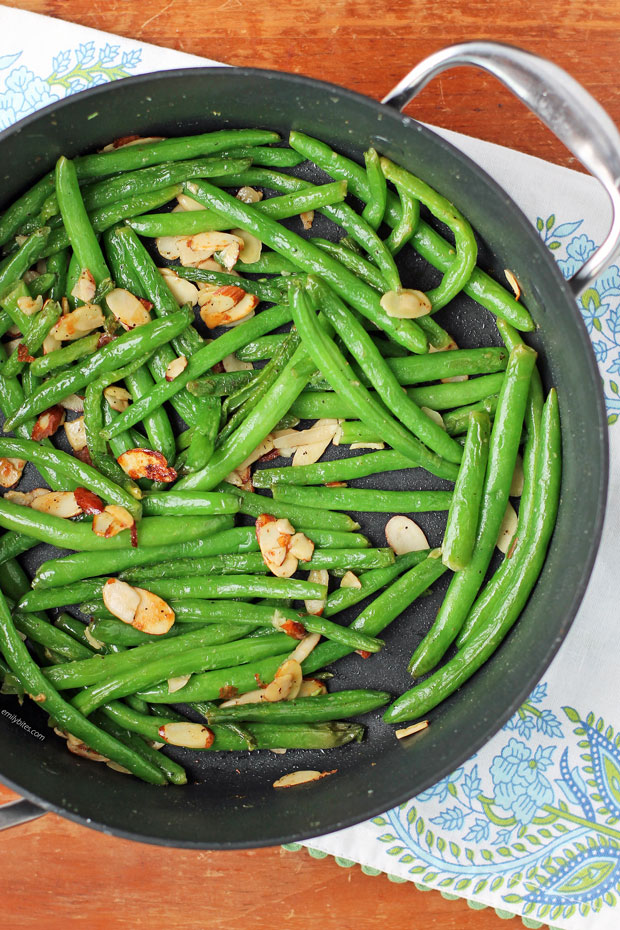 Stovetop Green Beans with Almonds in a pan