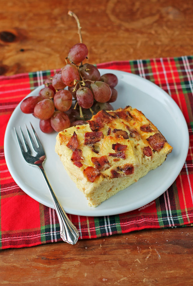 Overnight Breakfast Casserole piece with grapes