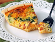 Bacon Broccoli Quiche with a forkful