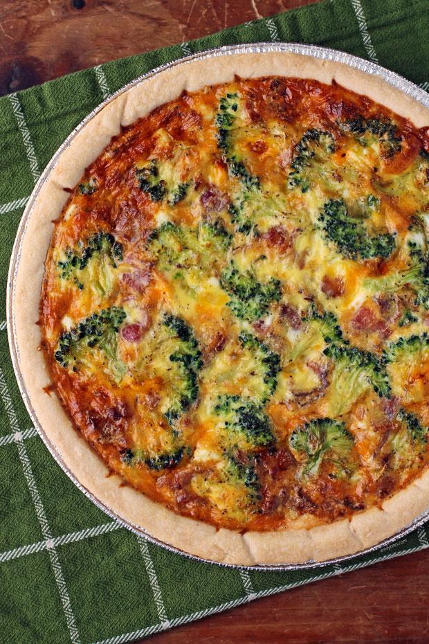 Bacon Broccoli Quiche in pie plate
