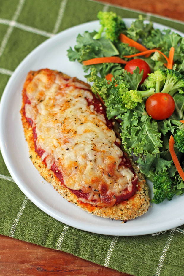 Chicken Parmesan with salad