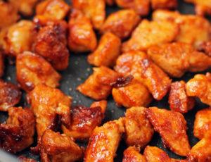 Nashville Hot Chicken Bites in a pan